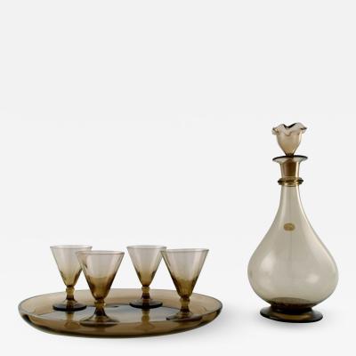 Simon Gate Art Deco Art Glass 4 p Liqueur set with carafe on a tray smoke colored