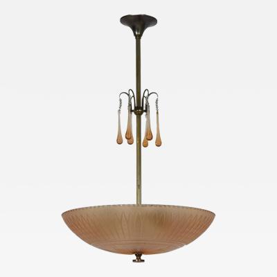 Simon Gate Orrefors Ceiling Lamp by Simon Gate 1930s