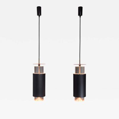 Simon Henningsen Pair Minimalist Simon Henningsen Metal and Plexiglass Pendants Denmark 1960s