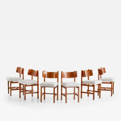 Simon Packo Set of Six Oak Dining Chairs by Simon Packo Blankenberge Belgium 1972