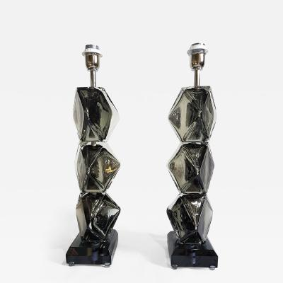 Simone Cenedese Pair of silver mirrored Murano glass lamps Mid Century Modern Cenedese style