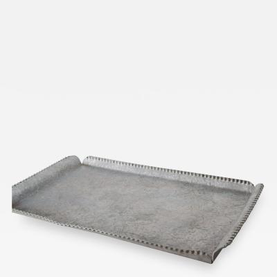 Simple Midcentury Serving Platter Tray in Hammered Aluminum 1950s