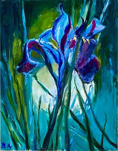 Single Iris Oil on Canvas American