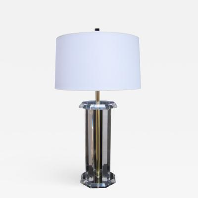 Single Modernist Octagonal Lucite Table Lamp