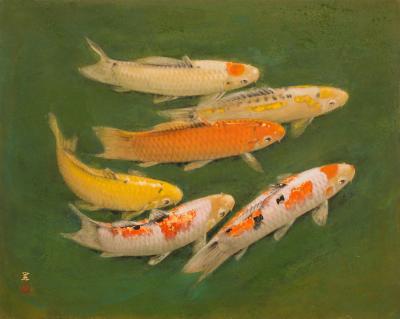 Single Panel Painting of Swimming Carp