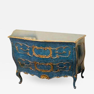 Single Royal Blue and Parcel Gilt Decorated Bombay Commode or Chest