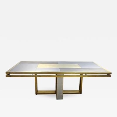 Sinopoli 1970s Italian Brass Satin Chrome Geometric Large Dining Hall Table