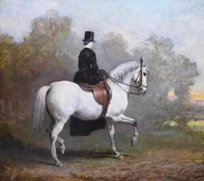 Sir Francis Grant Elegant Lady on a White Horse 19th Century Equestrian Portrait Oil Painting