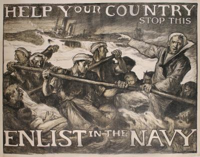Sir Frank Brangwyn World War I US Navy Recruitment Poster by Frank Brangwyn 1917
