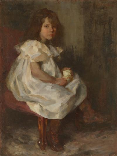 Sir James Jebusa Shannon Portrait of a Little Girl Holding a Toy
