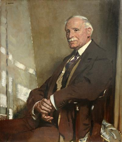 Sir William Orpen Portrait of Thomas Glass Seated Half Length in a Brown Three Piece Suit