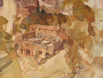 Sir William Russell Flint A Farm at Les Baux Provence