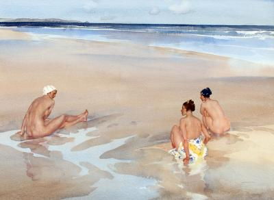 Sir William Russell Flint Evelina Mirabel and Alice on Bamburgh Sands Northumberland