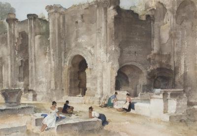 Sir William Russell Flint Figures Amid Ruins