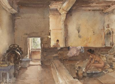 Sir William Russell Flint The Chateau Bath Equilly Pam la Bathing