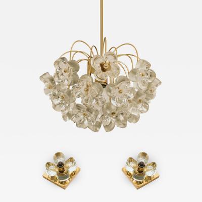 Sische Simon and Schelle Set of 3 Sische Glass and Brass Light Fixtures 1960s Kalmar Style