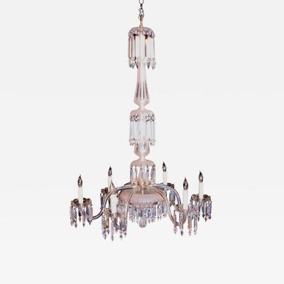 Six Arm 19th Century Crystal and Cut Frosted Glass Chandelier