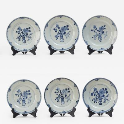 Six Blue and White Qing Dynasty plates from first half of 18th century