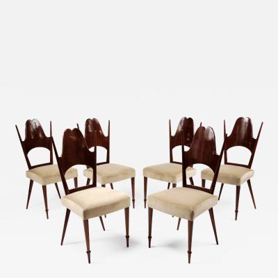 Six Dining Chairs Italy 1950s