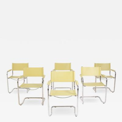 Six Italian Chairs in Steel and Yellow Leather