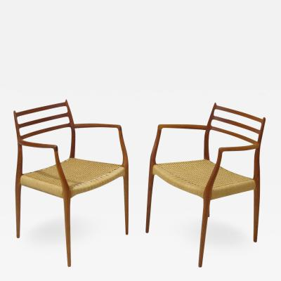 Six JL Moller Model 62 78 Carver Dining Chairs in Teak and Papercord