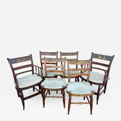 Six Paint Decorated Rush Seat Dining Chairs New England circa 1840
