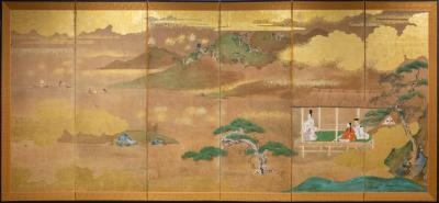 Six Panel Screen Glorious Painting of Lord Genji Gazing Out Over Lake Biwa