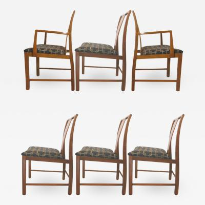 Six Walnut Dining Chairs Asian Modern