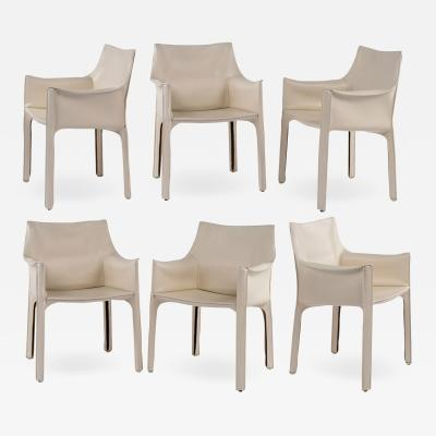 Six White Mario Bellini Cab 413 Armchairs
