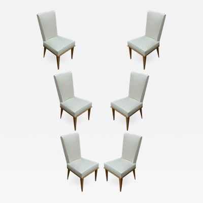 Six chicest sycamore and silk cloth dinning chairs
