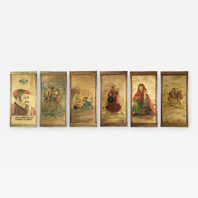 Six decorative lacquered panels with Hindu paintings circa 1920