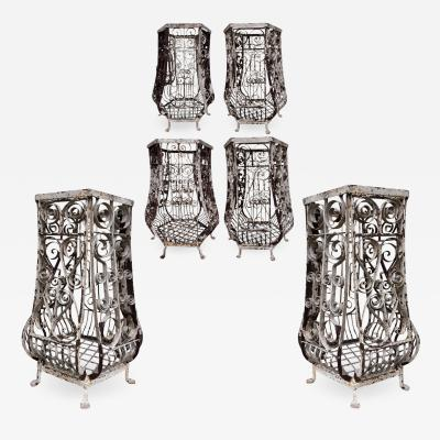 Six large hand wrought iron planters France circa 1880