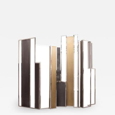 Skyline Room Divider in Stingray Leather Stainless Steel Brass and Lacquer
