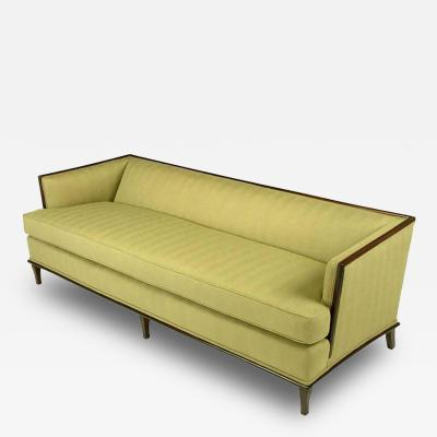 Sleek Mahogany Even Arm Sofa In Sage Herringbone