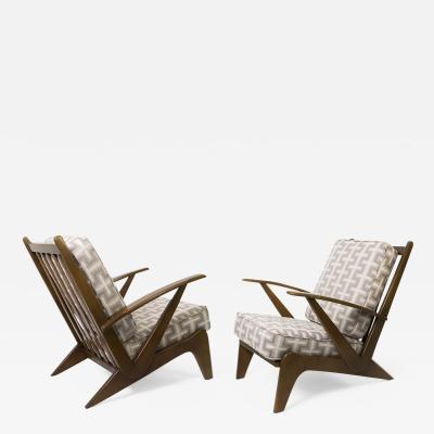 Sleek Pair of Scandinavian Modern Curved Armchairs