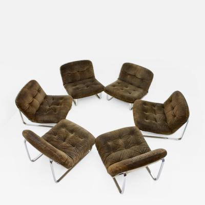 Slipper Lounge Chairs in Chrome and Suede 1974