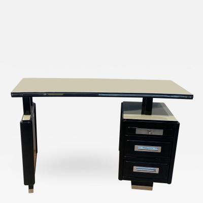 Small Art Deco Desk Black and White Lacquer Metal Parts France circa 1940