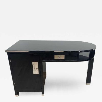 Small Art Deco Desk with Column Leg Black Lacquer and Metal France circa 1930
