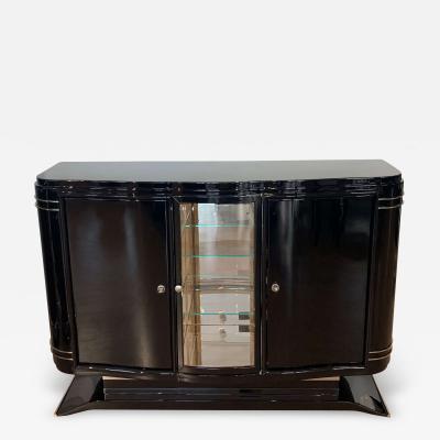 Small Art Deco Sideboard Buffet Black Lacquer Nickel France circa 1925