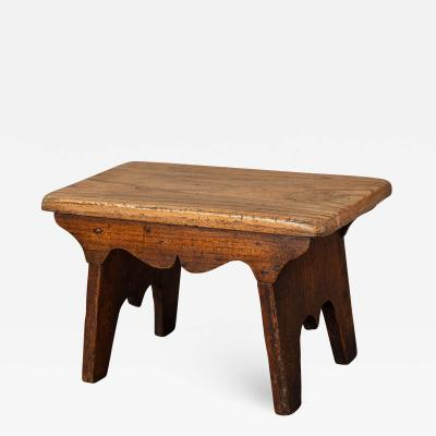 Small Boarded Elm 18th Century Stool of Trestle Design