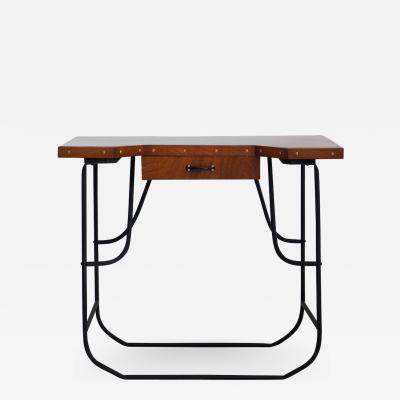 Small Desk or Console Table with Black Steel Frame and Mahogany Top