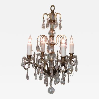 Small Early 20th C Italian Bronze and Crystal Waterfall Chandelier