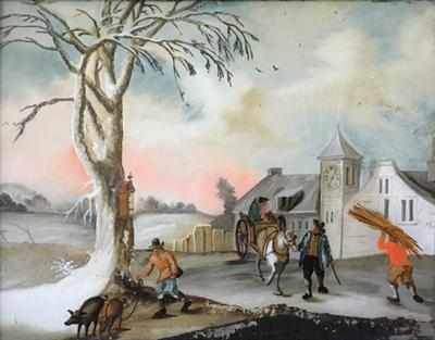 Small Eglomise Genre Painting Early 19th Century