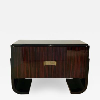 Small French Art Deco Sideboard Macassar and Black Lacquer 1930s