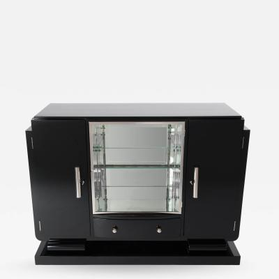 Small French Black Lacquered Art Deco Sideboard with Mirrored Display Cabinet