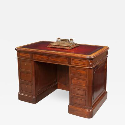 Small French Mahogany Library Desk in the Neoclassical Style