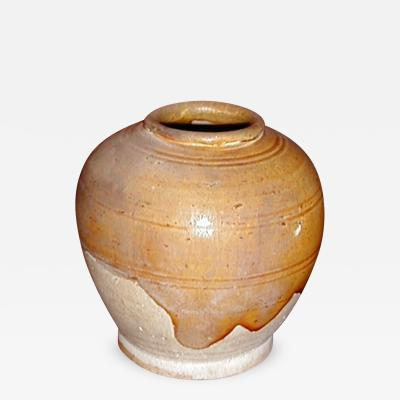 Small Glazed Earthenware Jar with Amber Glaze