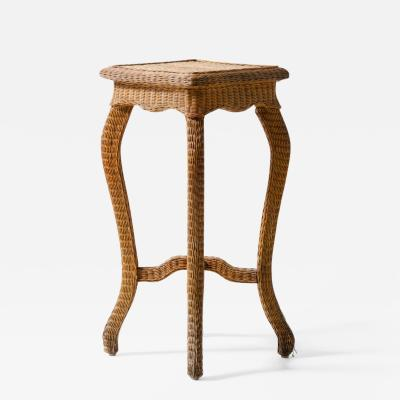 Small Gueridon coffee table in wood and woven rush