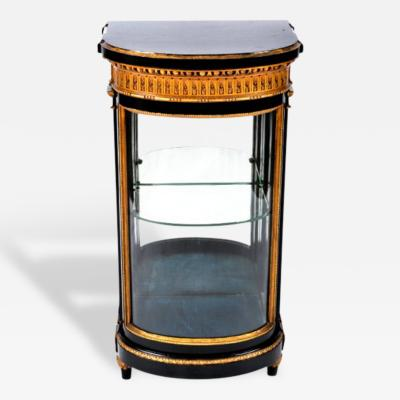 Small Gustavian D Shaped Console Display Cabinet