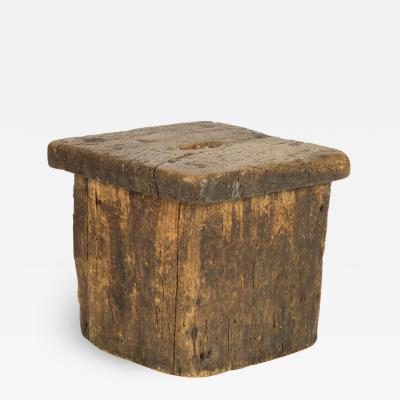 Small Rustic Square Oak Stool With Pierced Top